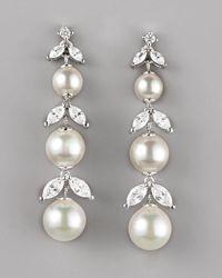 Majorica - Metallic Pearl Cubic Zirconia Drop Earrings - Lyst