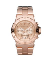 Michael Kors | Metallic Rose Golden Chronograph Watch | Lyst