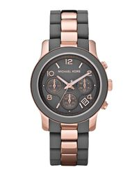 Michael Kors | Black Two-tone Silicone Watch, Rose Gold/gray | Lyst