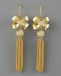 MILLY - Metallic Bow Tassel Earrings - Lyst