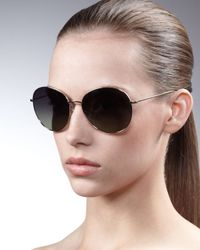Oliver Peoples | Black Blondell Round Aviator Sunglasses | Lyst