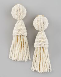 Oscar de la Renta - White Beaded Short Tassel Earrings - Lyst