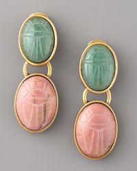 Oscar de la Renta - Multicolor Carved-stone Earrings - Lyst