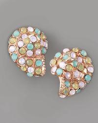 Oscar de la Renta - Multicolor Pave Shell Clip Earrings - Lyst