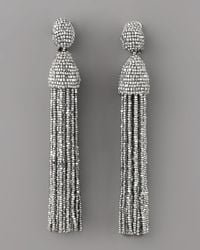 Oscar de la Renta - Metallic Long Beaded Tassel Earrings - Lyst