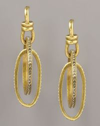 Paige Novick - Metallic Pave Oval Hoop Earrings - Lyst