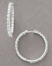 Roberto Coin | Metallic Diamond Hoop Earrings 550 Tcw | Lyst