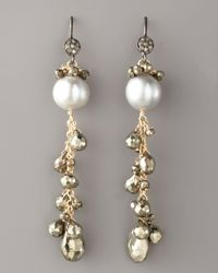 Wendy Brigode | Metallic Diamond & Pearl Drop Earrings | Lyst