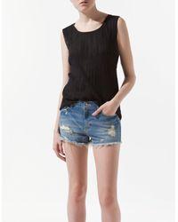 Zara | Black Pleated Fabric Tshirt | Lyst