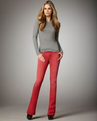 7 For All Mankind - Kaylie Sunbleached Red Slim Boot-cut Jeans - Lyst