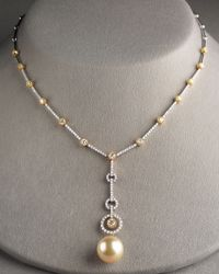 Assael | Metallic Golden Pearl & Diamond Necklace | Lyst