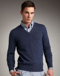 Brunello Cucinelli | Blue V-neck Cashmere Sweater, Indigo for Men | Lyst