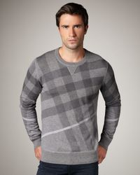 Burberry Brit | Gray Check Crewneck Sweater for Men | Lyst