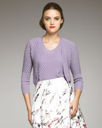 Carolina Herrera | Purple Textured Cardigan | Lyst