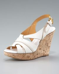 Chloé | Marcie Cork-wedge Slingback Sandal, Tan/white | Lyst
