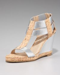 Donald J Pliner | Metallic-cork Wedge Sandal | Lyst