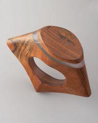 Donna Karan | Brown Sculpted Wood Bangle | Lyst