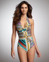 Etro | Metallic One-Piece Tribal Swimsuit | Lyst