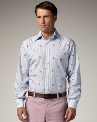 Etro - Blue Lobster Shirt for Men - Lyst