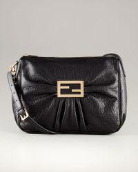 Fendi | Large Black Leather Messenger Bag | Lyst