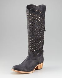 Frye | Gray Deborah Studded Cowboy Boot | Lyst
