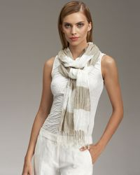 Giorgio Armani | Natural Striped Gauze Scarf | Lyst