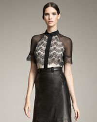 Jason Wu | Black Blouse with Lace Overlay | Lyst