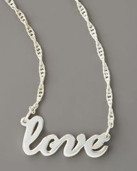 Jennifer Zeuner - Metallic Cursive Love Necklace - Lyst