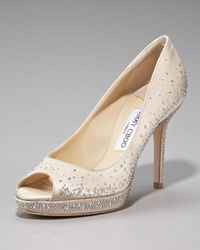 Jimmy Choo | Natural Crystal-detail Satin Pump | Lyst