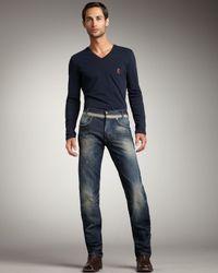 Just Cavalli | Blue Distressed Straight-Leg Jeans for Men | Lyst