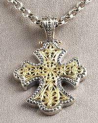 Konstantino - Metallic Flared Cross Pendant - Lyst