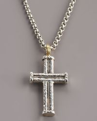 Konstantino | Metallic Hammered Rope Cross Pendant for Men | Lyst