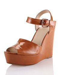 Kors by Michael Kors - Brown Carmila Patent Leather Wedge Sandal - Lyst