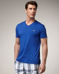 Lacoste | V-neck Crocodile Tee, Ocean City Blue for Men | Lyst