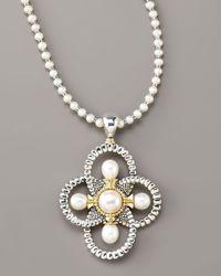 Lagos - White Luna Pearl Quatrefoil Pendant Necklace - Lyst