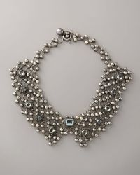 Lanvin | Black Beaded-chain & Crystal Collar Necklace | Lyst