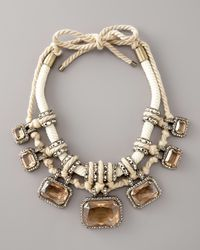 Lanvin - White Pave Crystal & Rope Necklace - Lyst