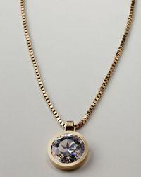 Lanvin   Metallic Rhinestone Pendant Necklace   Lyst