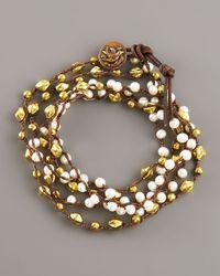 Love Heals - Metallic Pearl Bronze Wrap Bracelet - Lyst