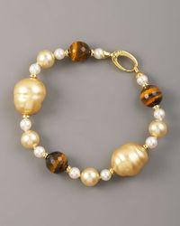 Majorica - Metallic Pearl & Tigers Eye Bracelet - Lyst