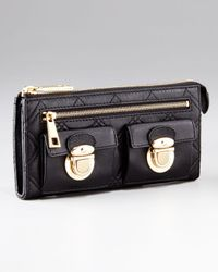 Marc Jacobs | Black Quilting Leather Zip Clutch | Lyst