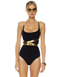 Michael Kors - Black Belted Leather-contrast Swimsuit - Lyst
