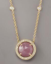 Penny Preville - Metallic Pink Sapphire & Diamond Pendant Necklace - Lyst