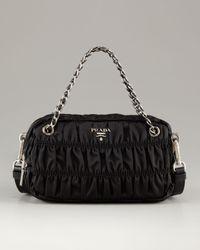 Prada | Black Extra Small Zip Top Ruched Nylon Shoulder Bag | Lyst