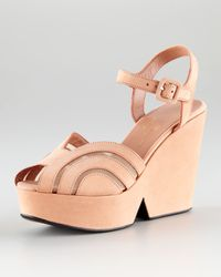 Robert Clergerie - Natural Dinato Blush Suede Wedge Sandal - Lyst