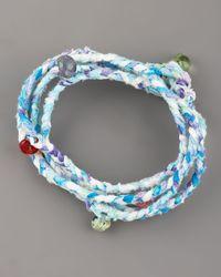 Same Sky | Blue Beaded Woven Wrap Bracelet | Lyst