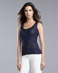 St. John | Blue Sequined Sleeveless Shell | Lyst