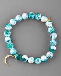 Sydney Evan | Blue Green Agate & Pave Diamond Bracelet | Lyst