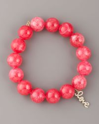 Sydney Evan | Pink Jade & Diamond Charm Bracelet | Lyst