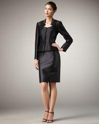 Tahari | Black Chiffon-inset Sateen Suit | Lyst
